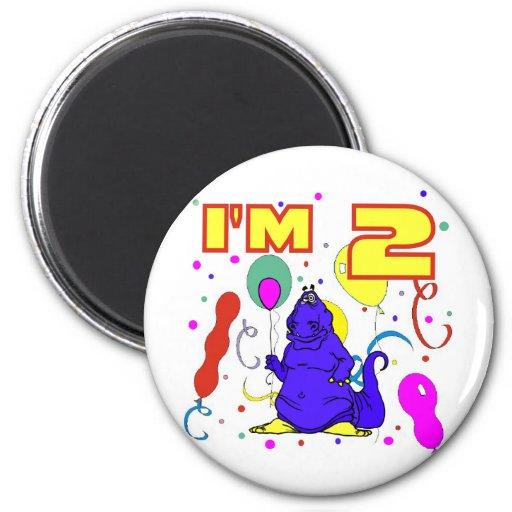 2do Cumpleaños del dinosaurio del cumpleaños Imán De Nevera