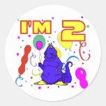 2do Cumpleaños del dinosaurio del cumpleaños Etiquetas Redondas