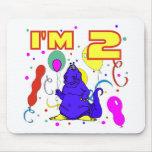 2do Cumpleaños del dinosaurio del cumpleaños Alfombrillas De Ratón