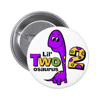 2do cumpleaños del dinosaurio púrpura pin redondo de 2 pulgadas