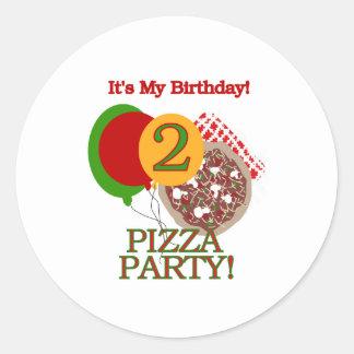 2do Cumpleaños del fiesta de la pizza Etiquetas Redondas