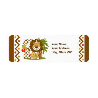 2do cumpleaños del león lindo etiqueta de remite