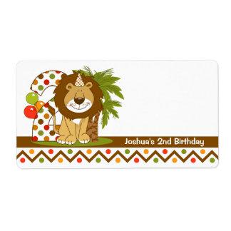 2do cumpleaños del león lindo etiquetas de envío