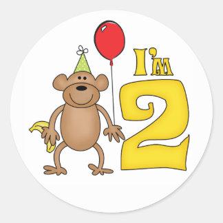 2do cumpleaños del mono divertido pegatina redonda
