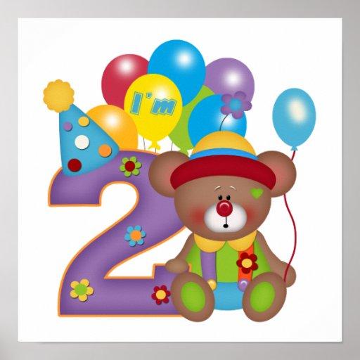 2do Cumpleaños del payaso del oso del cumpleaños Póster