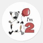 2do Cumpleaños del perrito del cumpleaños Pegatinas Redondas
