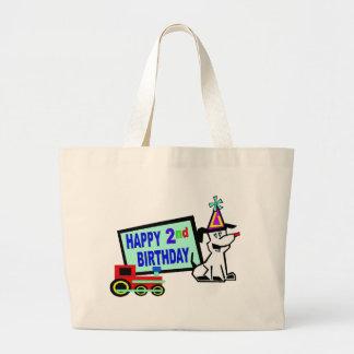 2do cumpleaños del perro y del tren bolsa de mano