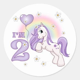 2do cumpleaños del potro bonito pegatinas redondas