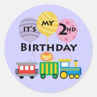 2do Cumpleaños del tren del cumpleaños Pegatina Redonda
