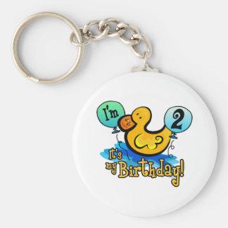 2do cumpleaños Ducky Llavero Redondo Tipo Pin