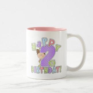 2do cumpleaños feliz, chica caucásico taza dos tonos