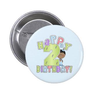 2do cumpleaños feliz, muchacho afroamericano pin