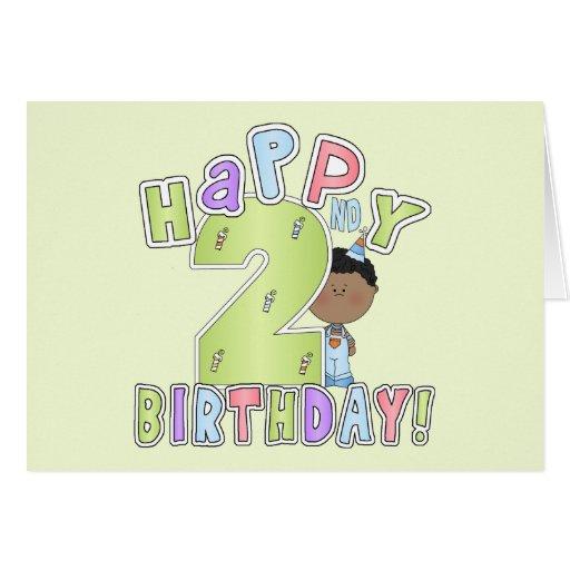 2do cumpleaños feliz, muchacho afroamericano felicitación
