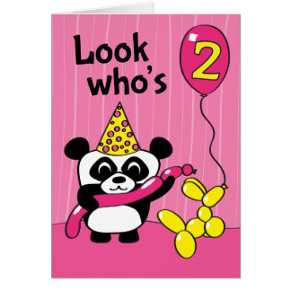 2do cumpleaños - panda del chica con los globos tarjeta de felicitación