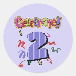 2do Cumpleaños Pegatina Redonda