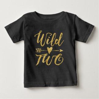 2do cumpleaños salvaje de dos | de oro y negro playera de bebé