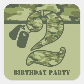 2do cumpleaños verde de Camo Pegatina Cuadrada
