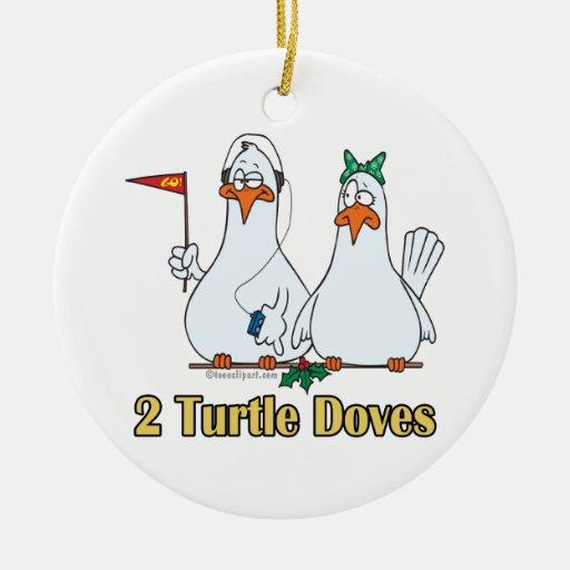 2do día de dos palomas de la tortuga en segundo adorno redondo de cerámica