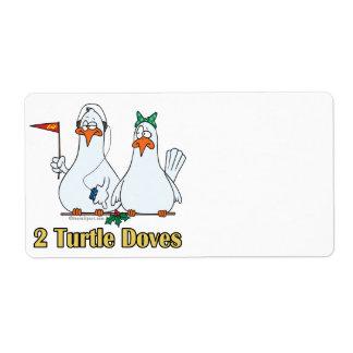 2do día de dos palomas de la tortuga en segundo lu etiquetas de envío