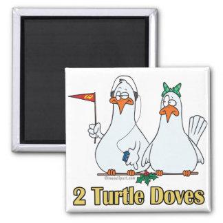 2do día de dos palomas de la tortuga en segundo lu imán cuadrado
