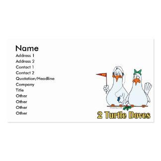 2do día de dos palomas de la tortuga en segundo tarjetas de visita