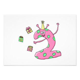 2do dibujo animado del cumpleaños de los chicas en invitacion personalizada