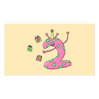 2do dibujo animado del cumpleaños de los chicas en tarjetas de negocios