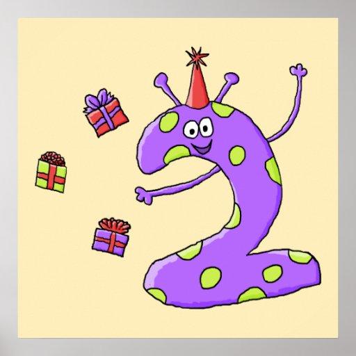 2do Dibujo animado del cumpleaños en púrpura Posters