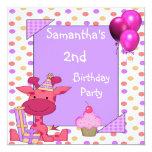 2do El cumpleaños mancha los globos de la Invitaciones Personalizada