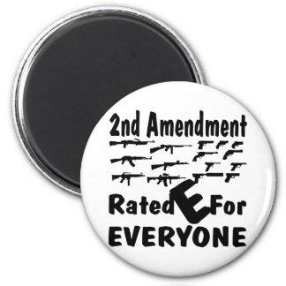 2do Enmienda E clasificada para cada uno Imán Redondo 5 Cm