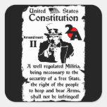 2do Enmienda Pegatina Cuadrada