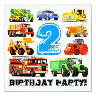 """2do fiesta del camión de la construcción del invitación 5.25"""" x 5.25"""""""