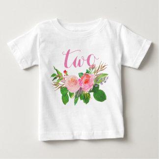2do Floral de la acuarela del chica del cumpleaños Playera De Bebé