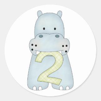 2do Hipopótamo del cumpleaños Etiqueta Redonda