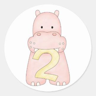 2do Hipopótamo del cumpleaños rosa Pegatina Redonda