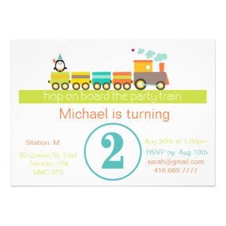 2do Invitación del tren del muchacho del cumpleaño