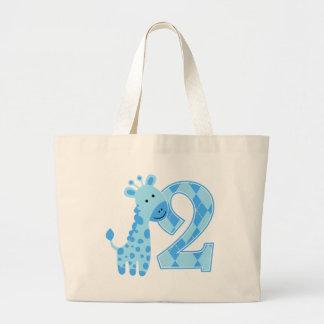 2do Jirafa del azul del cumpleaños Bolsa De Mano