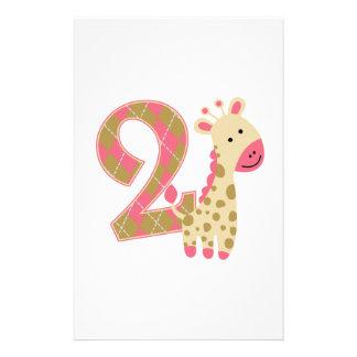 2do Jirafa rosada del cumpleaños Papeleria De Diseño