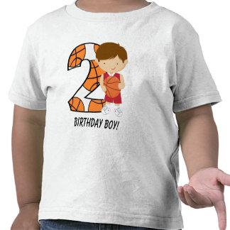 2do Jugador de básquet rojo y blanco del cumpleaño Camiseta