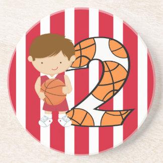 2do Jugador de básquet rojo y blanco del cumpleaño Posavasos Manualidades