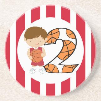 2do Jugador de básquet rojo y blanco v2 del cumple Posavasos Diseño