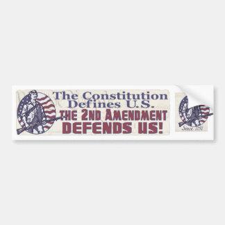 2do La enmienda nos defiende camisetas y los regal Etiqueta De Parachoque