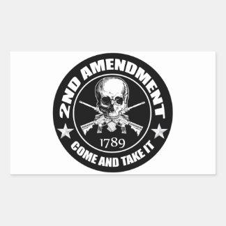 2do La enmienda viene tomarle el cráneo y AR Rectangular Pegatinas