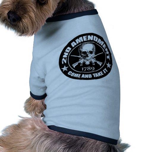 2do La enmienda viene tomarle el cráneo y AR Camiseta Con Mangas Para Perro