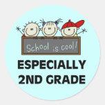 2do La escuela primaria es camisetas y regalos Pegatina Redonda