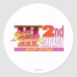 2do logotipo del impacto de Street Fighter III Pegatina Redonda