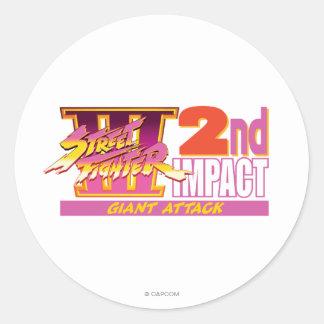 2do logotipo del impacto de Street Fighter III Pegatinas Redondas
