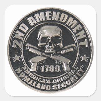 2do Medalla de la enmienda Pegatina Cuadrada