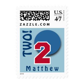 2do Número grande ROJO y círculo AZUL C02 del Sello Postal