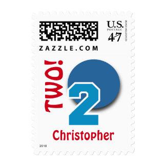 2do Número y círculo ROJOS BLANCOS AZULES C03 del Sello Postal